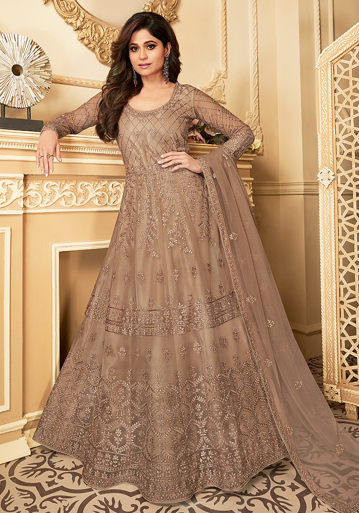 Beige Embroidered Anarkali
