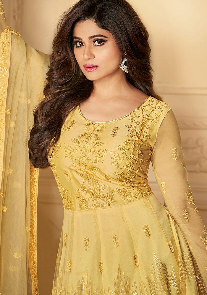 Yellow Embroidered Anarkali