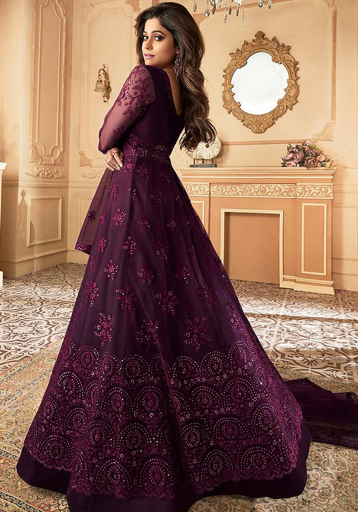 Purple Embroidered Anarkali