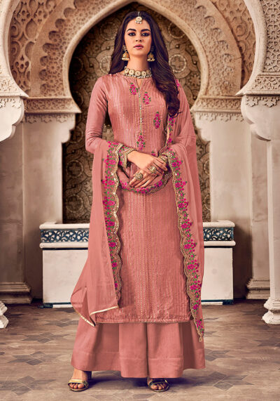 Pink Embroidered Palazzo Suit