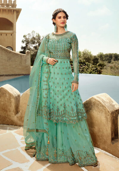 Aqua Blue Embroidered Sharara Suit