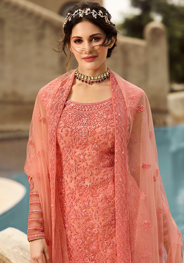 Peach Embroidered Gharara Suit