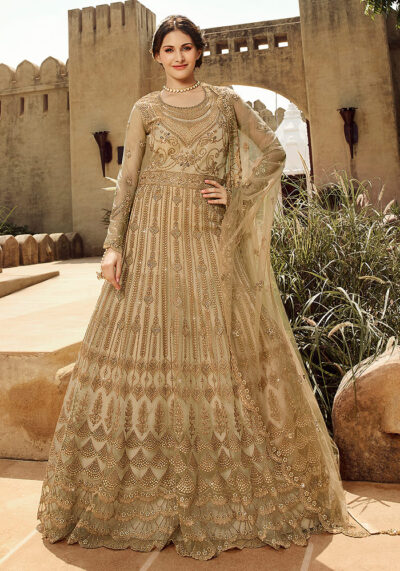 Light Beige Embroidered Anarkali