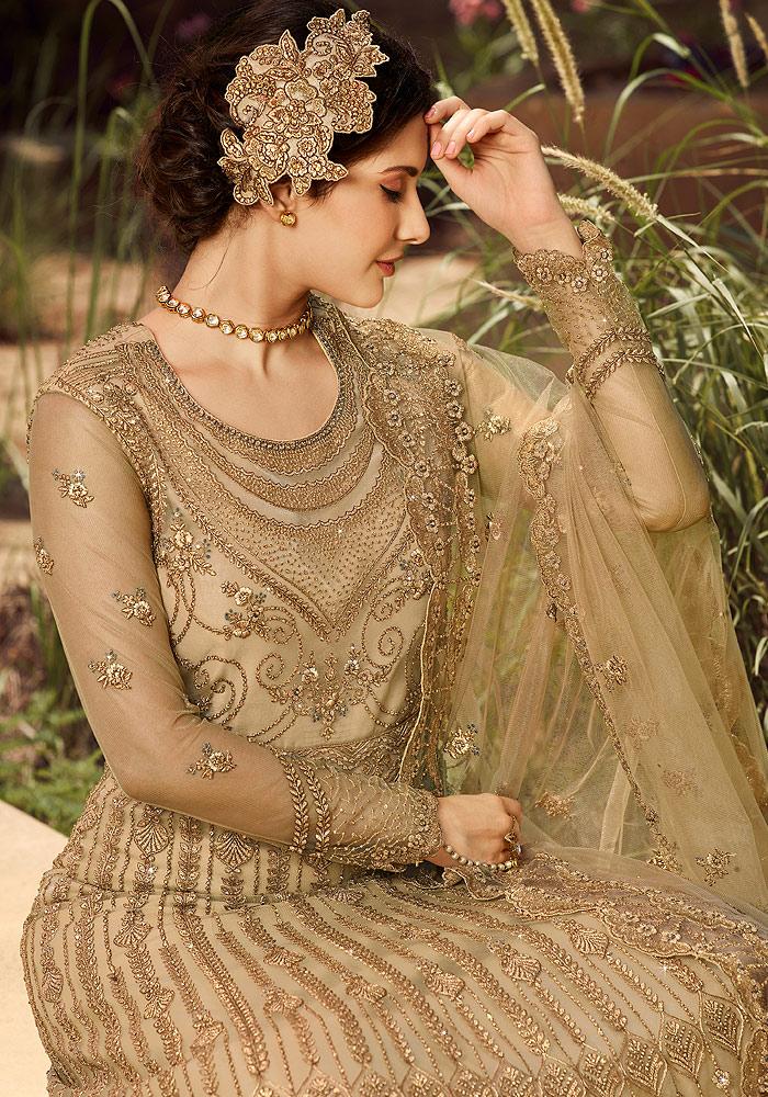 Light Beige Embroidered Anarkali