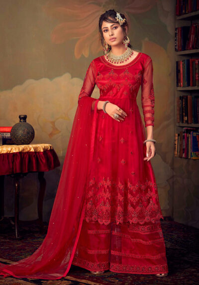 Red Embroidered Net Sharara Suit