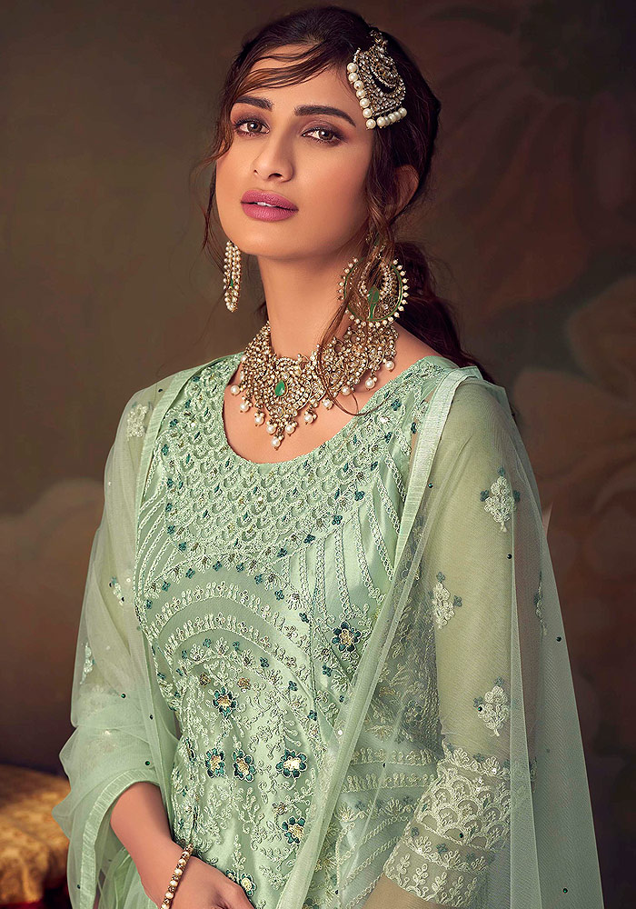 Mint Green Embroidered Net Gharara Suit