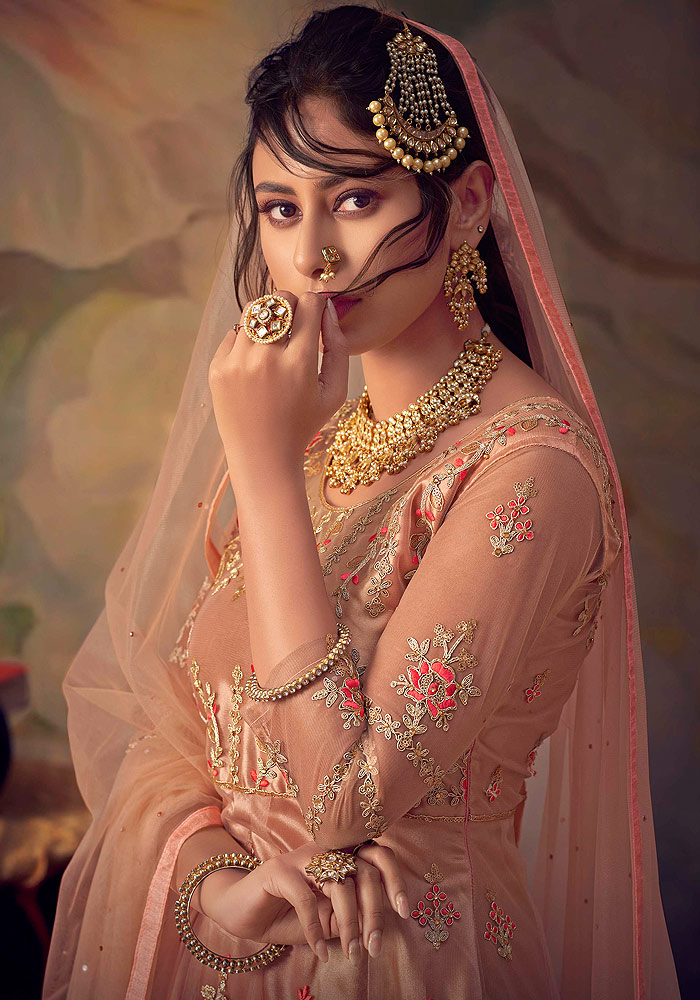 Peach Embroidered Net Sharara Suit