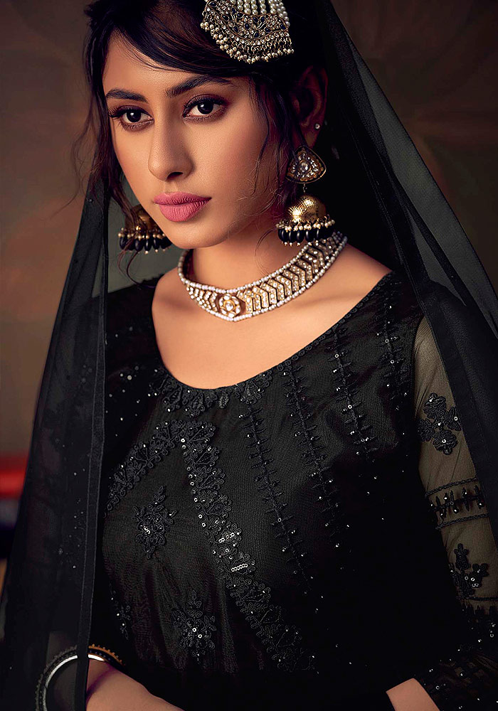 Black Embroidered Net Sharara Suit