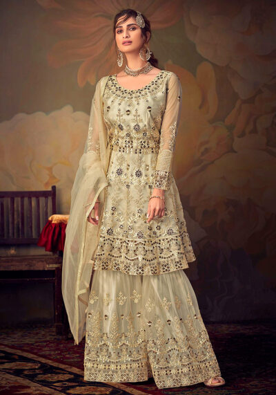 Cream Embroidered Net Sharara Suit
