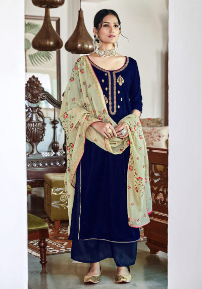 Navy Blue Embroidered Velvet Palazzo Suit
