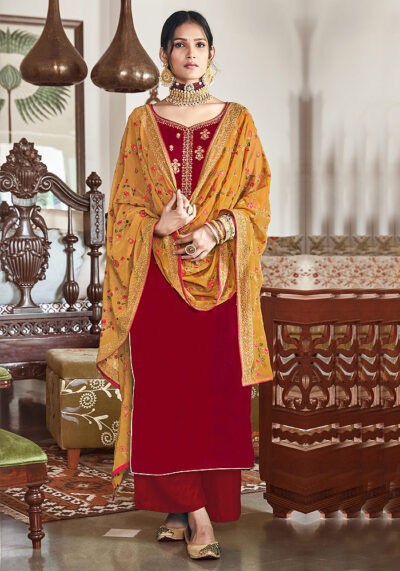 Red Embroidered Velvet Palazzo Suit