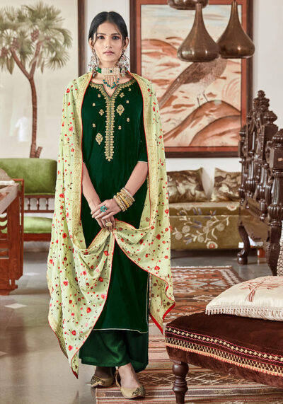 Green Embroidered Velvet Palazzo Suit