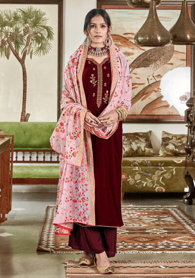 Maroon Embroidered Velvet Palazzo Suit