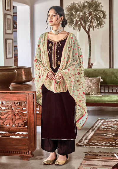 Brown Embroidered Velvet Palazzo Suit