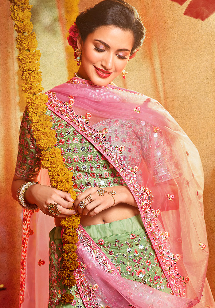 Green and Pink Heavy Embroidered Lehenga