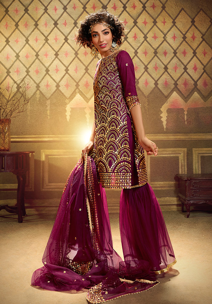 Wine Embroidered Gharara Suit