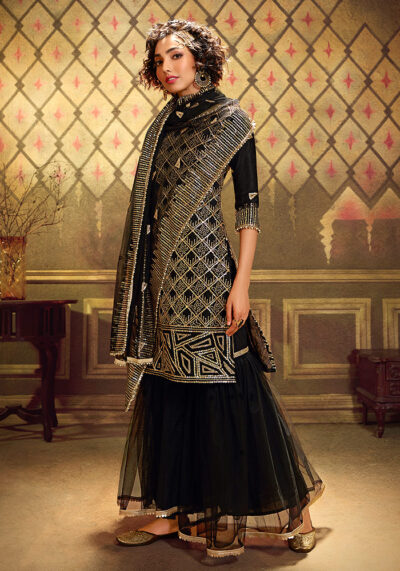 Black Embroidered Gharara Suit