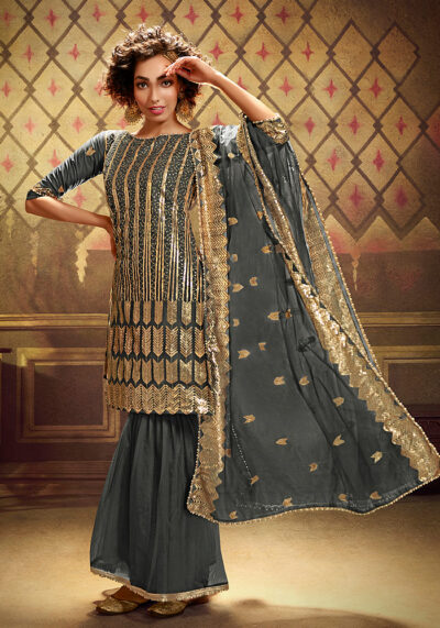 Grey Embroidered Gharara Suit