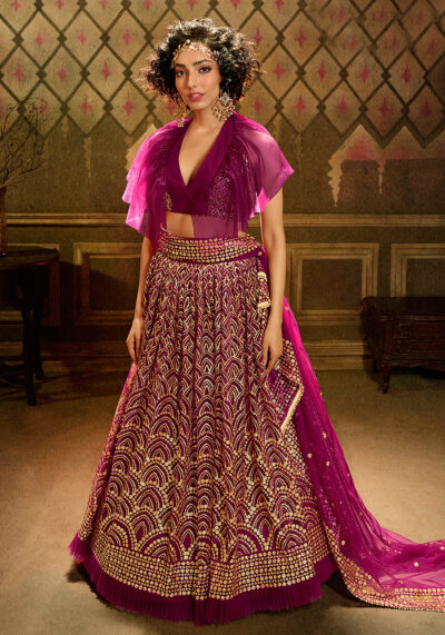 Wine Embroidered Net Lehenga