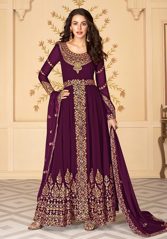 Purple Embroidered Pant Style Anarkali