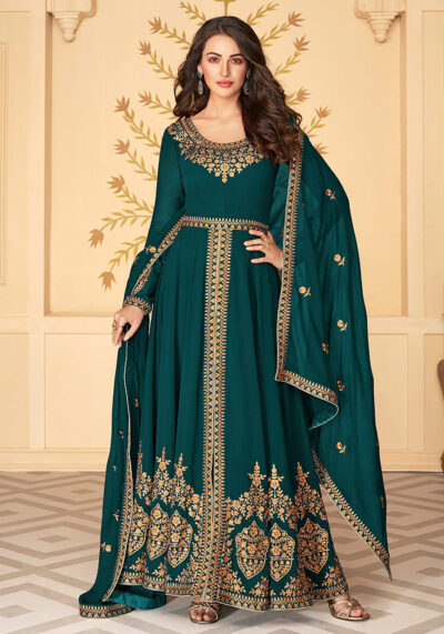 Teal Embroidered Pant Style Anarkali