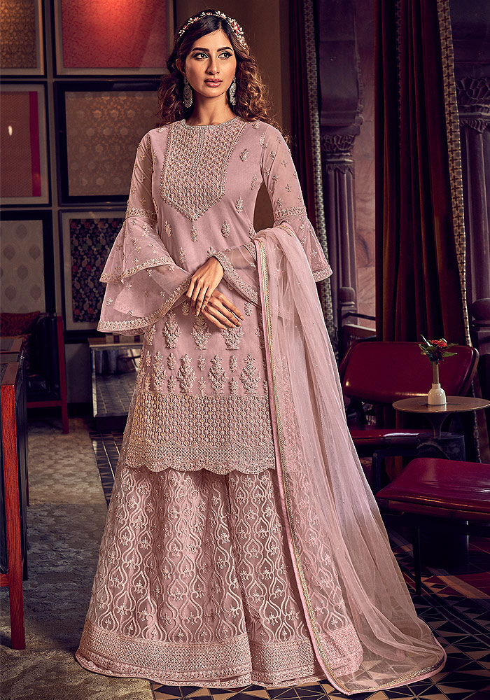Blush Pink Embroidered Palazzo Suit