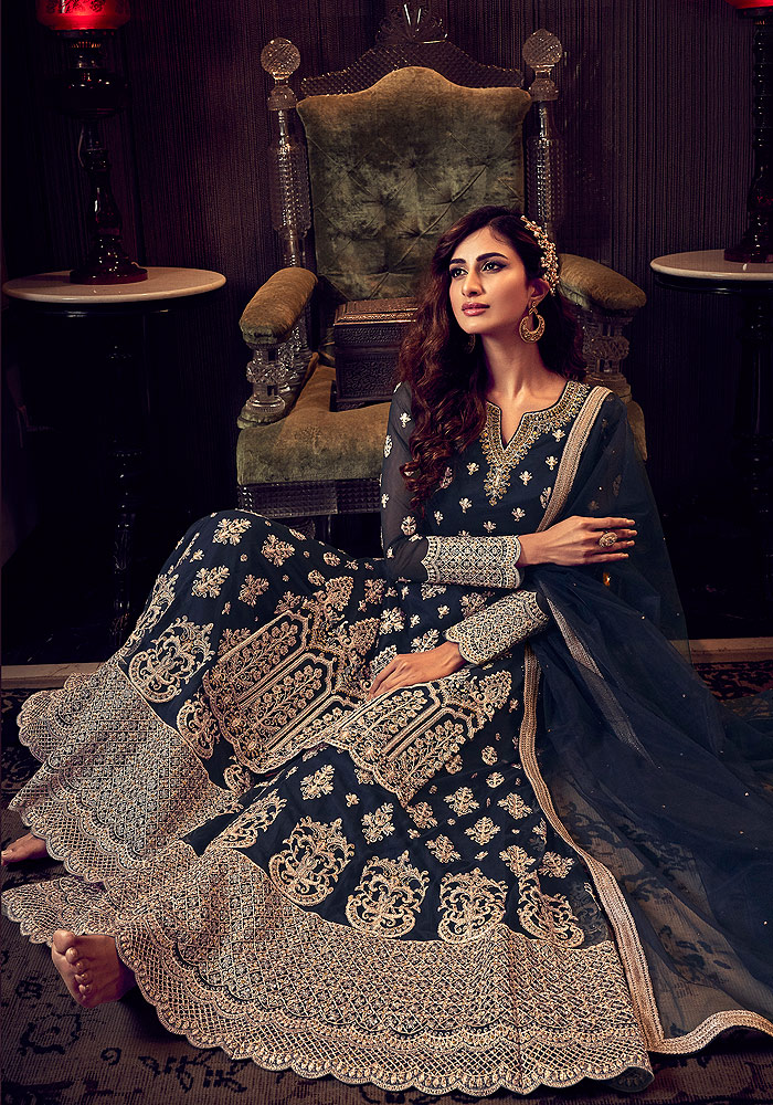Dark Blue Embroidered Palazzo Suit
