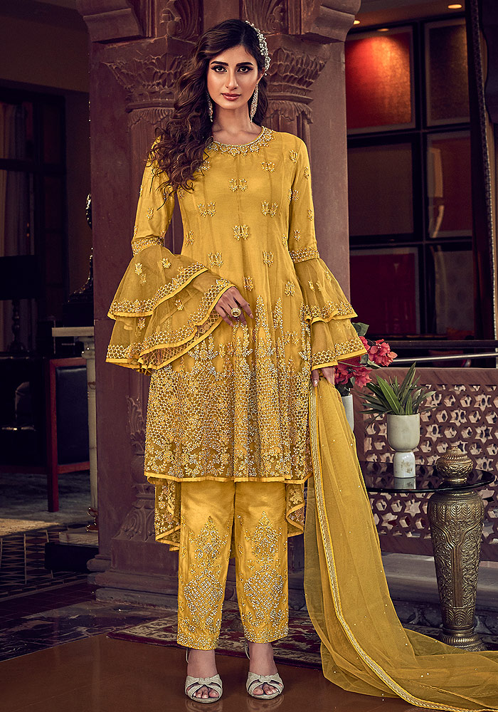 Yellow Embroidered Pant Style Suit