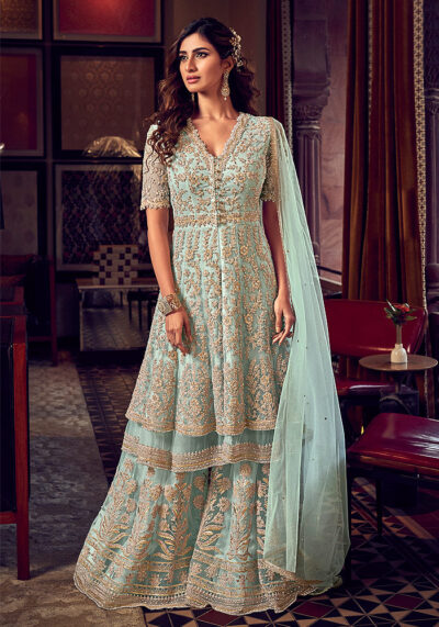 Light Green Embroidered Sharara Suit