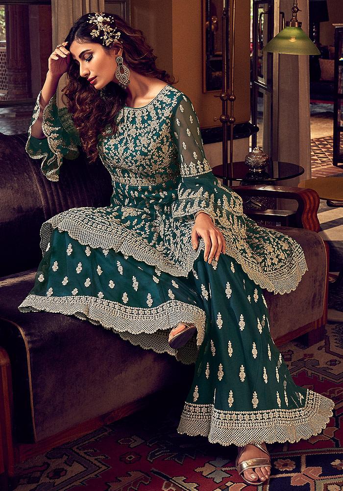 Dark Green Embroidered Sharara Suit