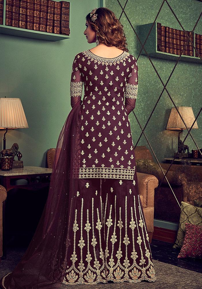 Purple Embroidered Sharara Suit