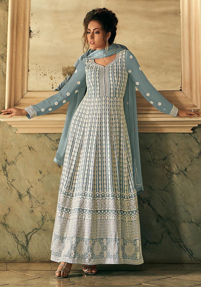 Light Blue Embroidered Anarkali