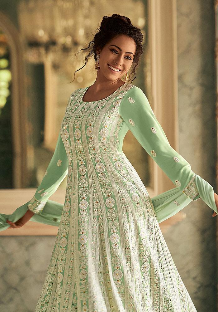 Light Green Embroidered Anarkali