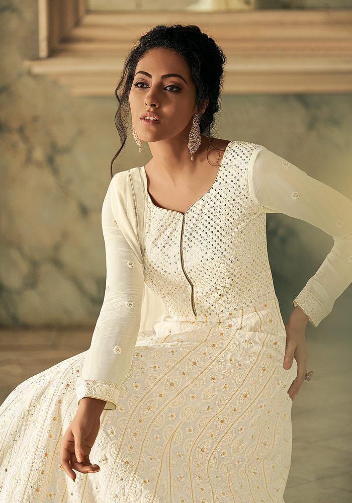 White Embroidered Anarkali