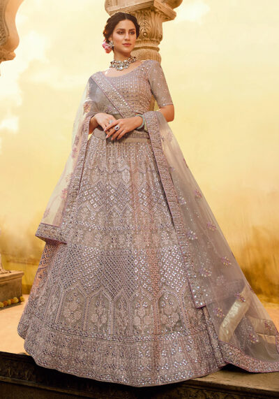 Light Purple Heavy Embroidered Lehenga