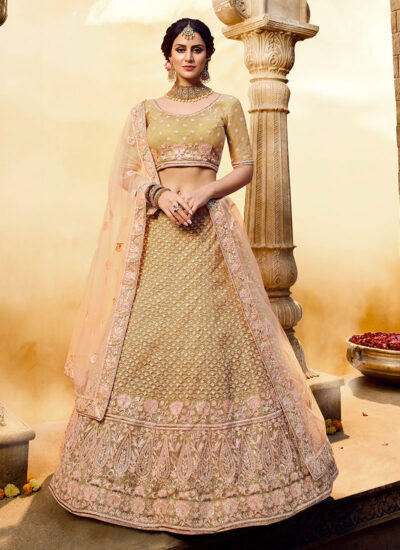 Light Green Heavy Embroidered Lehenga