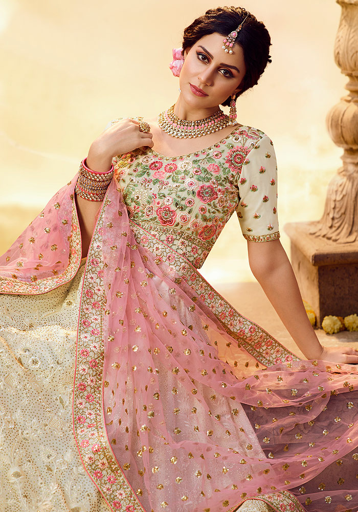 White and Pink Heavy Embroidered Lehenga