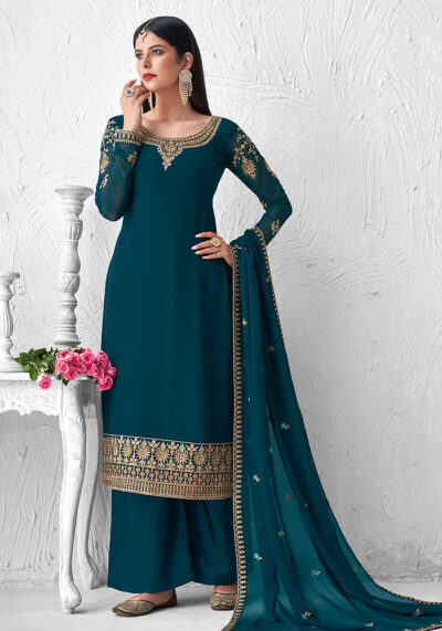 Teal Embroidered Palazzo Suit