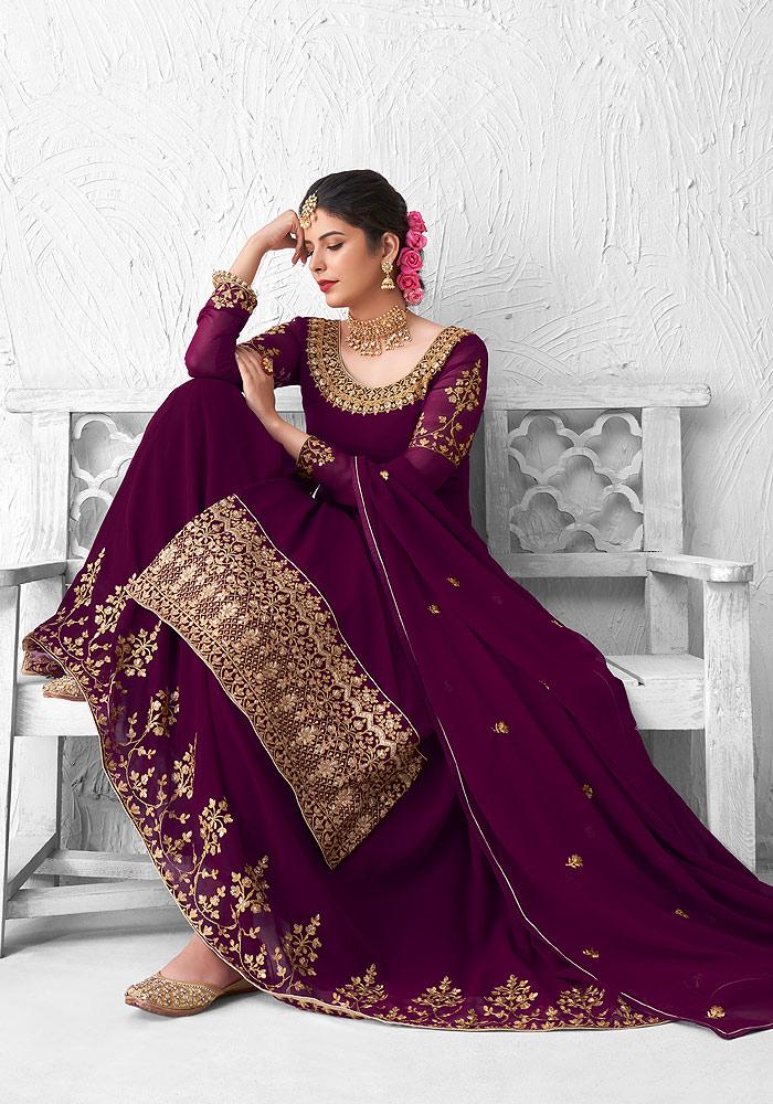 Purple and Gold Embroidered Lehenga Anarkali