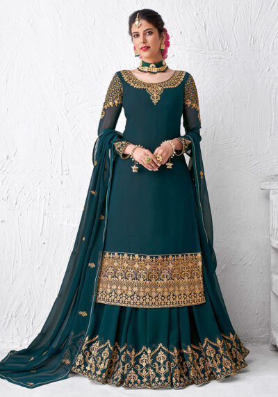 Teal and Gold Embroidered Lehenga Anarkali
