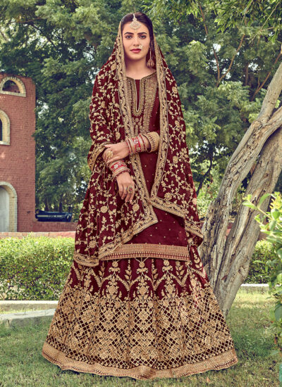 Maroon and Gold Embroidered Lehenga Anarkali