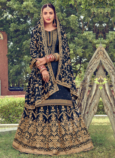 Blue and Gold Embroidered Lehenga Anarkali