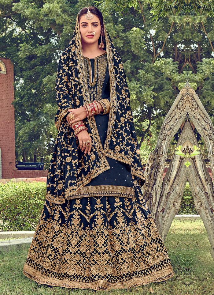 Blue and Gold Embroidered Lehenga Anarkali