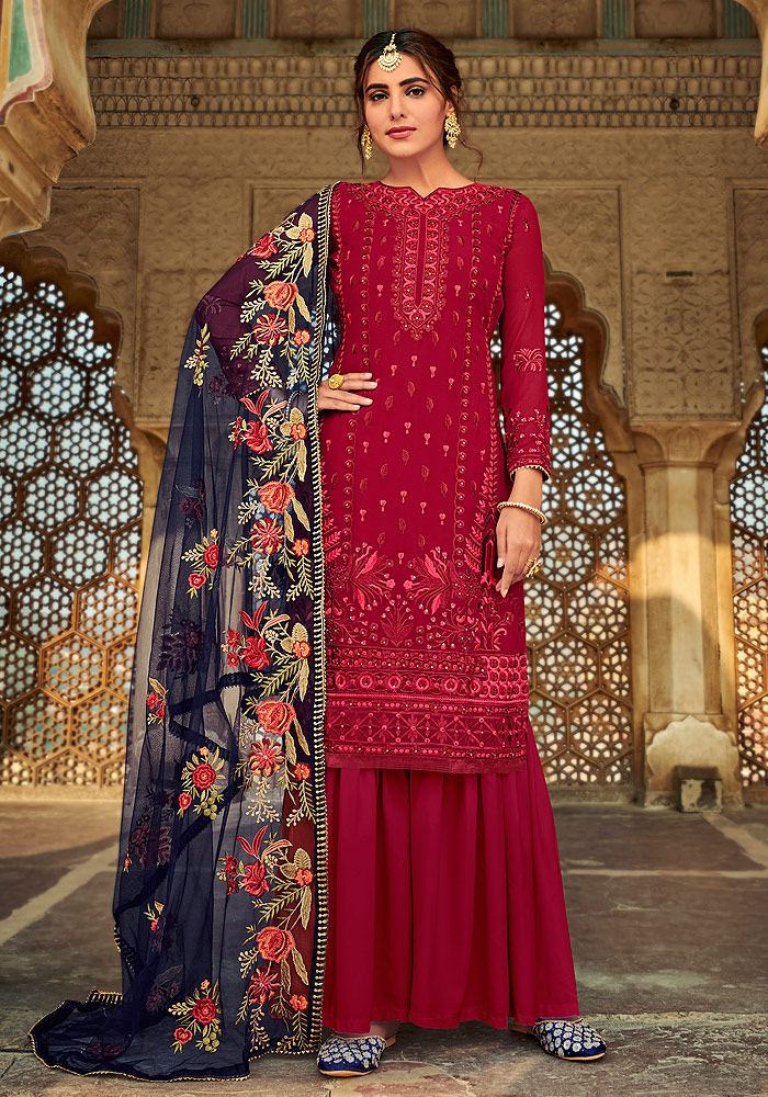 Red and Blue Embroidered Palazzo Suit