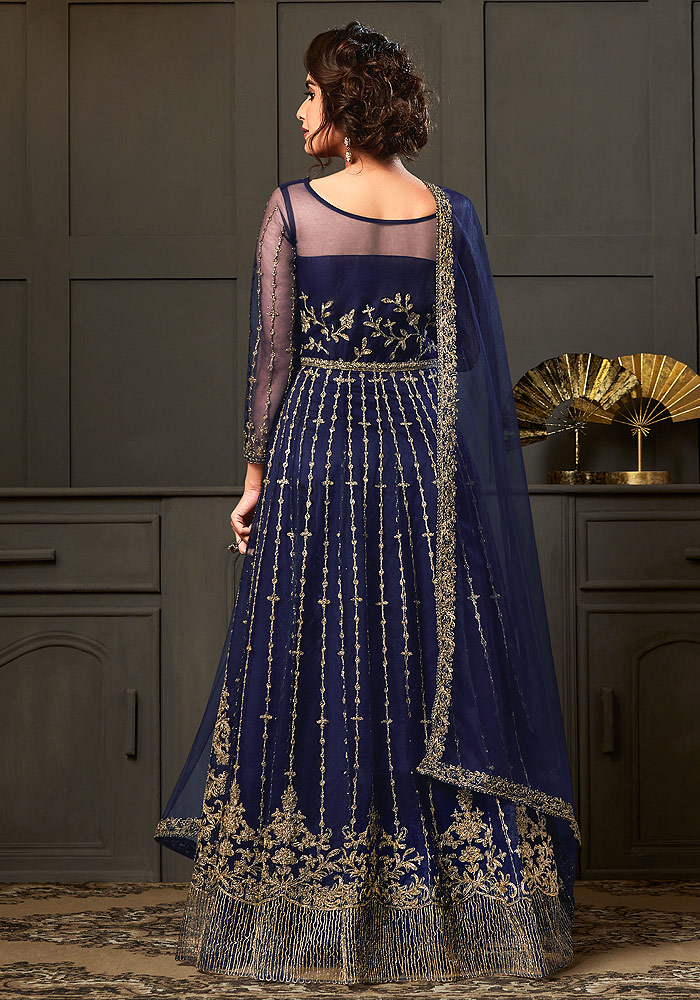 Royal Blue Embroidered Anarkali Gown