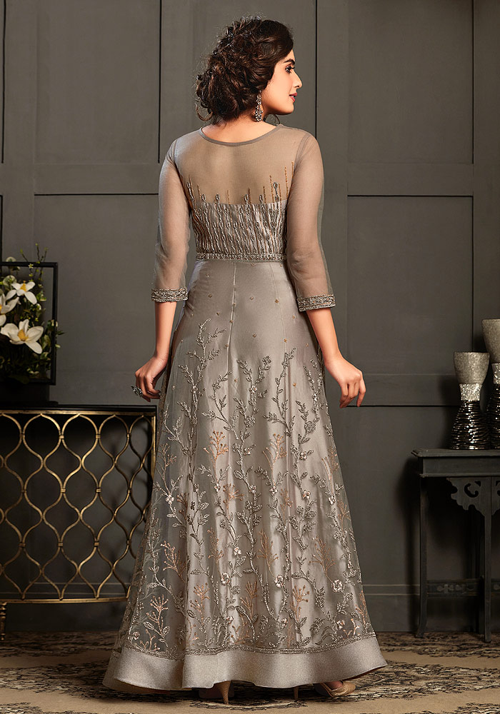 Light Grey Embroidered Anarkali Gown