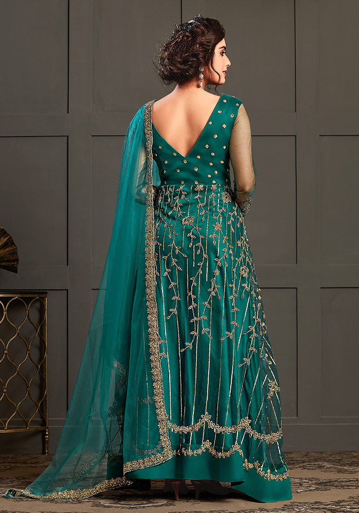 Peacock Blue Embroidered Anarkali
