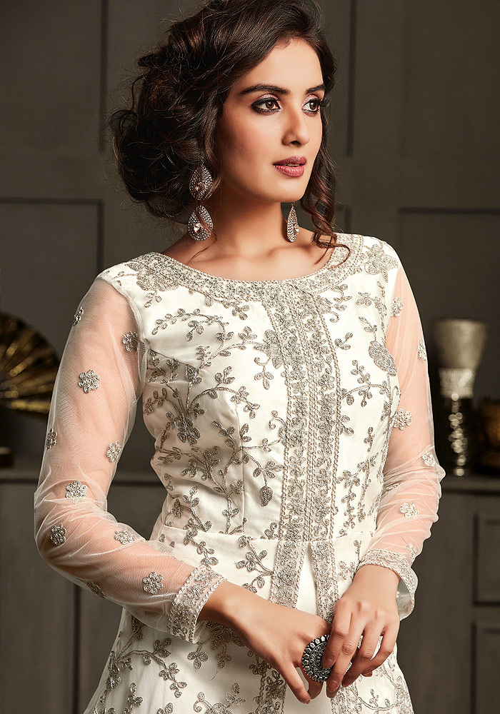 Offwhite Embroidered Jacket Style Anarkali