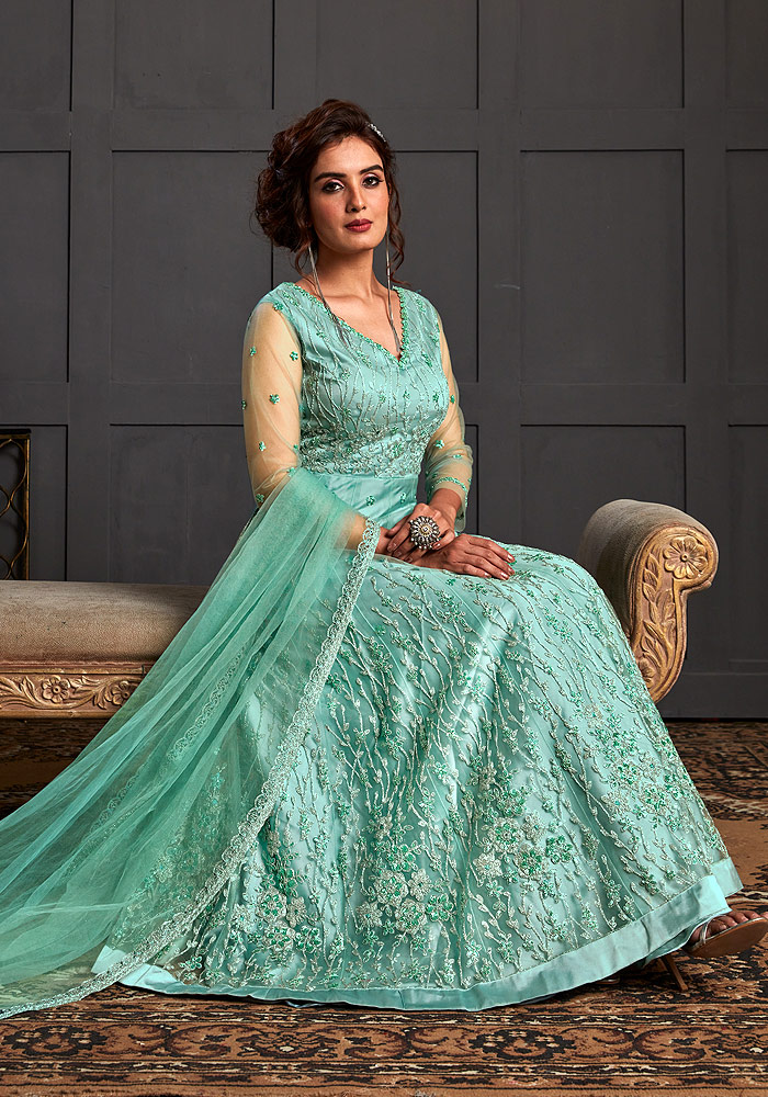 Firozi Embroidered Anarkali Gown