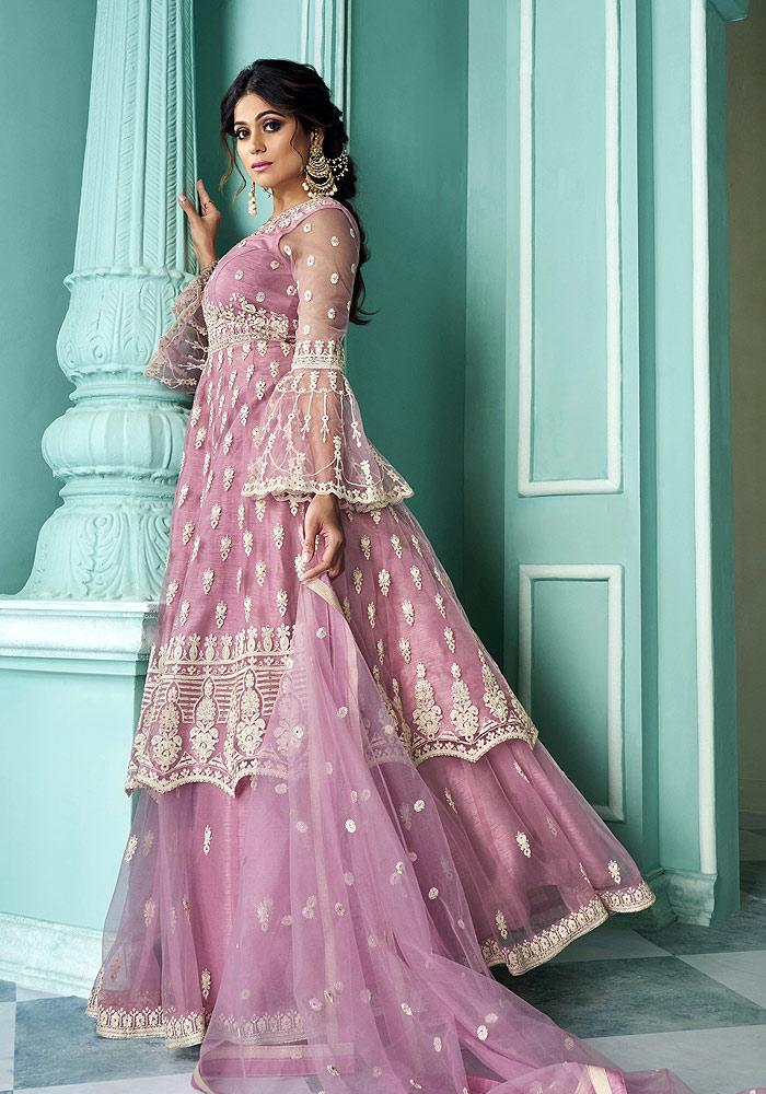 Pink Embroidered  Lehenga Anarkali